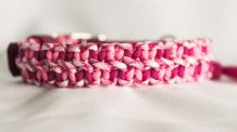 Little hearts collar - Fuchsia/Rose Pink/Breast Cancer Awareness